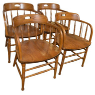 18190 Set of 4 Oak Chairs Made by Bent Brothers