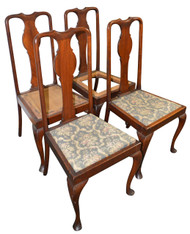 SOLD Set of 4 Mahogany Chippendale Queen Anne Chairs