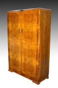 16974 Antique Deco Burl Walnut Wardrobe