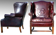 16984 Two Leather Wingback Chippendale Chairs - Shabby Chic