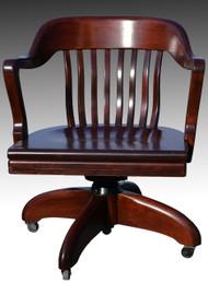 16980 Barrel Back Mahogany Swivel Office Chair