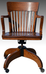SOLD  Oak Lawyers Swivel Tilting Bankers Chair