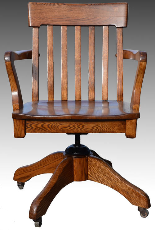 sold oak lawyers bankers swivel office chair maine antique furniture