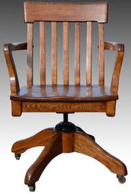 SOLD Oak Lawyers Bankers Swivel Office Chair