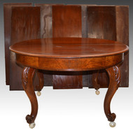 SOLD Round Burl Walnut Banquet Table with 7 Leaves Open 13 Feet!