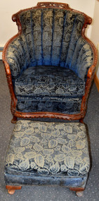 SOLD French Carved Chair and Ottoman