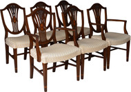 17029 Set of 6 Custom Inlaid Prince of Wales Dining Chairs