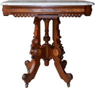 16999 Victorian Marble Burl Walnut Parlor Table