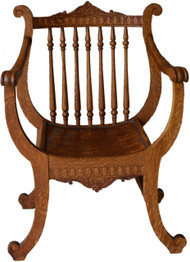 16989 Oak Carved Unusual Lyre Back Music Chair