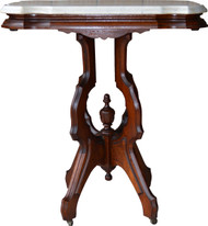 SOLD Victorian Burl Walnut Marble Top Shapely Table