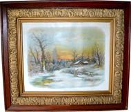 17043 Victorian Oak Carved Frame with Cabin Scene