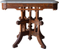 SOLD Carved Victorian Burl Walnut Marble Top Table