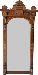 2939 Victorian Gold Incise Carved Hall Mirror