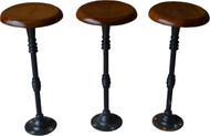 17005 Three Oak Cast Iron Pool Room Stools - Rare