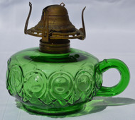 2904 Rare Green Bulls Eye Oil Lamp