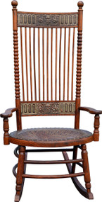 SOLD North Wind Embossed Leather Oak Unusual Rocking Chair