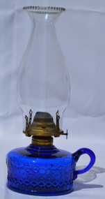 2901 Blue Oil Victorian Finger Lamp
