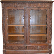 18232 Oak Heavy Carved Two Door Four Drawer Bookcase – Paine Quality