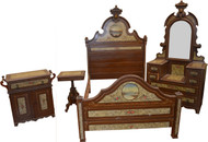 18244 Victorian Hand Decorated Painted Scenic Bedroom Set