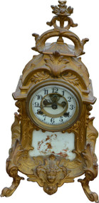 2958 Victorian Cast Gold Wash Metal Shelf Clock by Waterbury