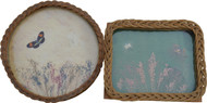 17075 Two Antique Wicker Glass Trays with Butterflies