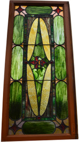 SOLD Victorian Multi-Color Leaded and Jeweled Stained Glass Window