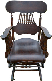 17002 Victorian Oak Press Carved Oversized Glider Rocker