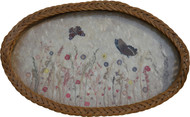 17076 Antique Oval Wicker Serving Tray with Butterflies