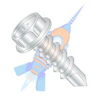 1/4-14 x 1-1/4 Phillips Hex Washer Full Thread Self Drilling Screw Zinc