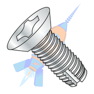 1/4-20 x 1/2 Phillips Flat Undercut Thread Cutting Screw Type 1 Fully Threaded Zinc