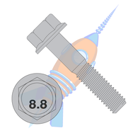 M10-1.5 x 16 DIN 6921 Class 8 Point 8 Metric Flange Bolt Screw Non Serrated Plain