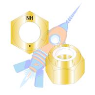 1-1/8-12 N1610 Nylon Insert Hex Locknut NE Light Hex Standard Height Grade 8 Zinc Yellow