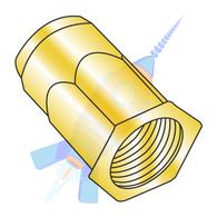 M4 x 0.7 x 3.00 Metric Thin Head Hex Body Rivet Nut Steel Zinc Yellow Dichromate
