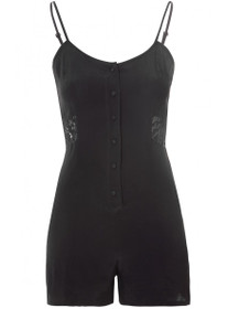 Button Down Playsuit with Lace Inserts