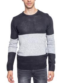 Stripe Block Wool Crew Knit Sweater