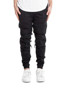 Shooter Distressed Chino Joggers in Black