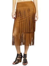 Alden Suede Fringe Layered Skirt