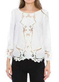 Zephra 3/4 Lace Panel Blouse Top