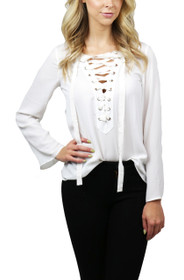 Rhodes Lace-Up Blouse Top