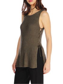 Love Yourself Lace-Up Side Knit Tank