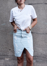 Lola High Waisted Distressed Denim Skirt by Tori Gonzales
