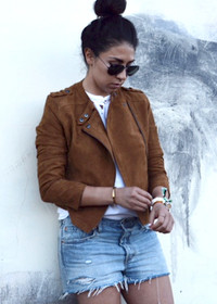 Marfa Suede Moto Jacket by Tori Gonzales