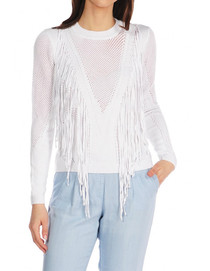 In The Wild Mesh Knit Fringe Sweater
