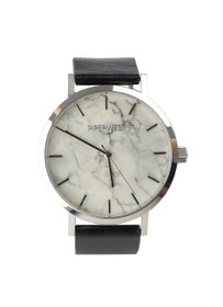 The Marble Minimalist Watch in Black/Silver