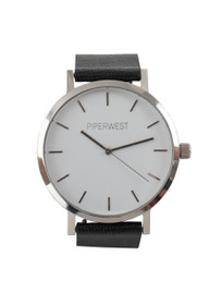 The Classic Minimalist Watch in Black Saffiano/Silver