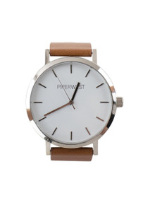 The Classic Minimalist Watch in Tan/Silver