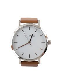 The Classic Minimalist Watch in Tan/Silver