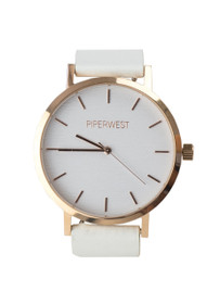 The Classic Minimalist Watch in White/Rose Gold