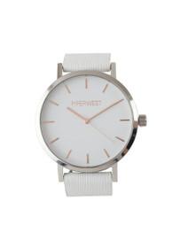 The Duo Minimalist Watch in White Saffiano/Silver
