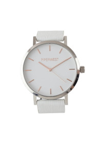 The Duo Minimalist Watch in White Saffiano/Silver